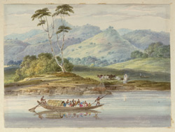 River boat filled with people in the foreground, cows on the river bank and wooded hills beyond, near Udhua Nullah, Santal Parganas District